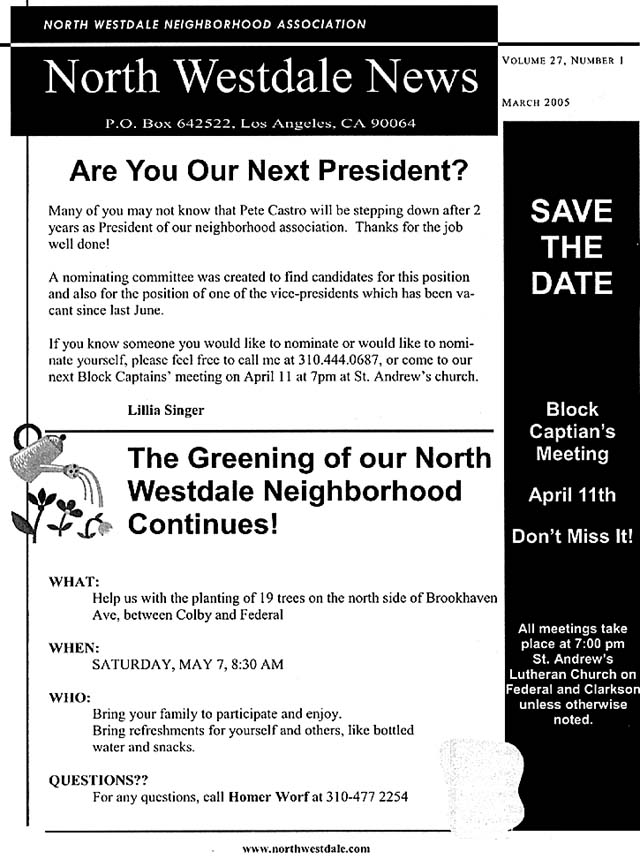 March 2005 NWNA Newsletter - Page 1