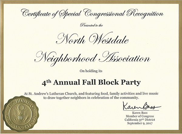 NWNA Congressional Recognition