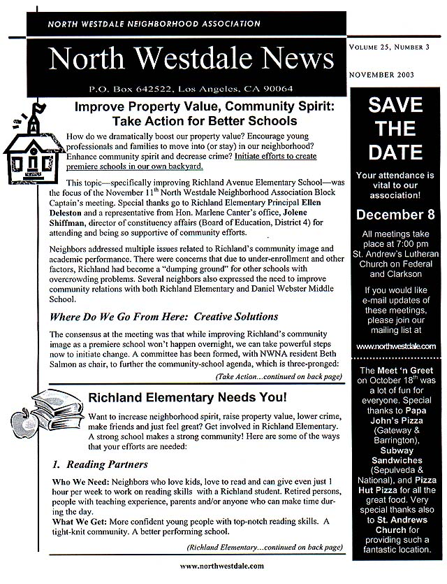 November 2003 NWNA Newsletter Side 1