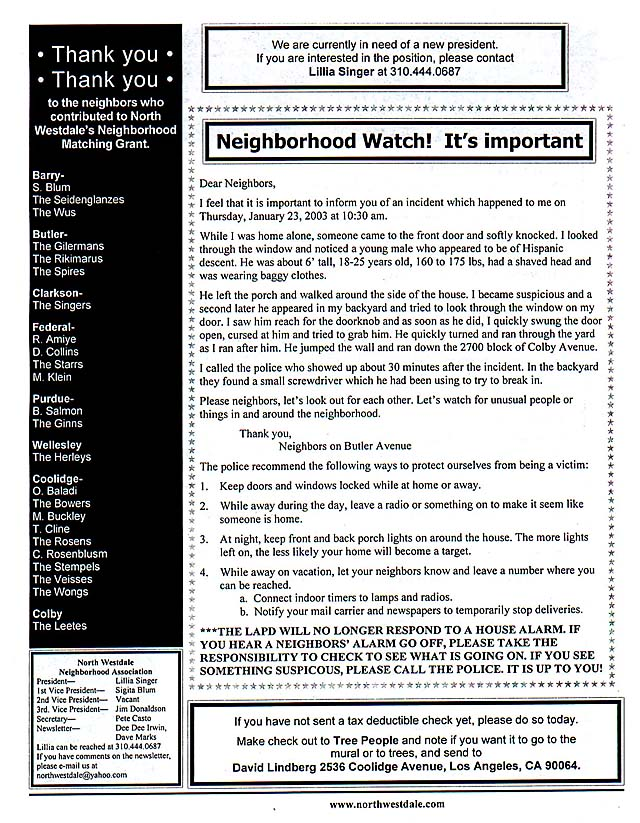 Feb. 2003 NWNA newsletter