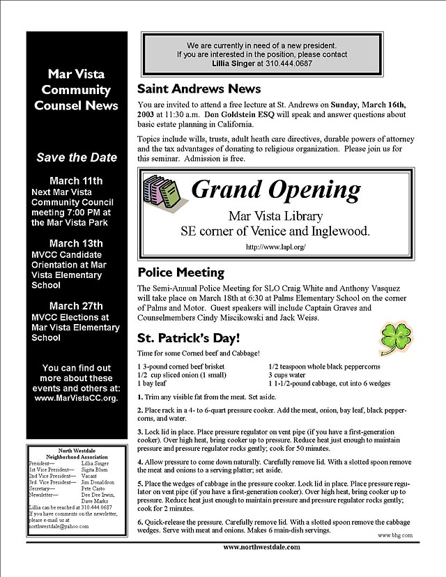 March 2003 newsletter - page 2