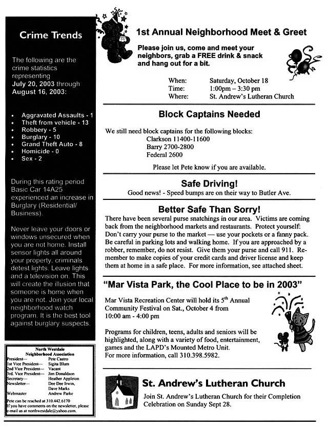 side 2 of the september 2003 nwna newsletter